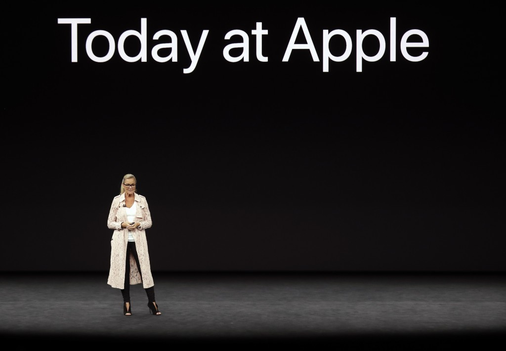 FILE- In this Sept. 12, 2017, file photo Angela Ahrendts, Apple's Senior Vice President of Retail, discusses updates at Apple Stores before a new prod...