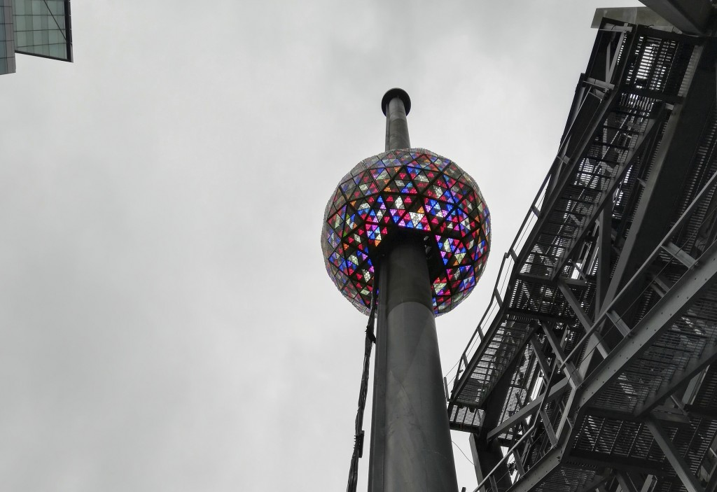 A test is performed in New York's Times Square on Sunday, Dec. 30, 2018, of the New Year's Eve ball that will be lit and sent up a 130-foot pole atop ...