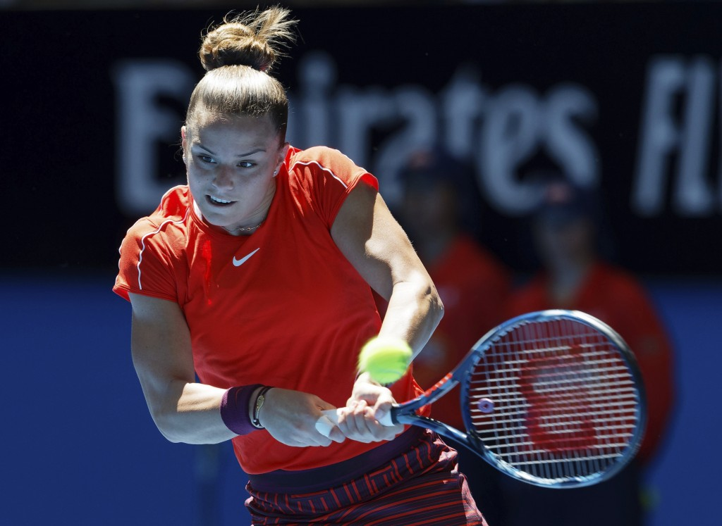 Maria Sakkari of Greece plays a shot during her match against Serena Williams of the United States at the Hopman Cup in Perth, Australia, Monday Dec. ...