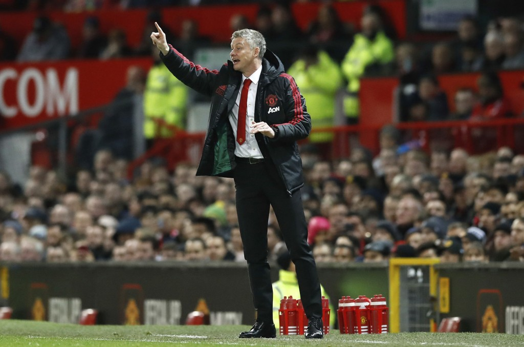 Manchester United interim manager Ole Gunnar Solskjaer gestures on the touchline during the match against Bournemouth, during their English Premier Le...