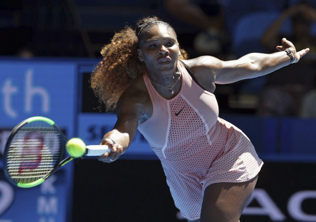 Serena Williams of the United States plays a shot during her match against Maria Sakkari of Greece at the Hopman Cup in Perth, Australia, Monday, Dec....