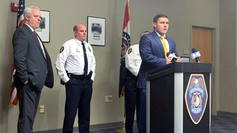 In this Saturday, Dec. 29, 2018, photo St. Charles County Prosecutor speaks to the press in St. Charles, Mo. A St. Louis-area man shot to death his gi