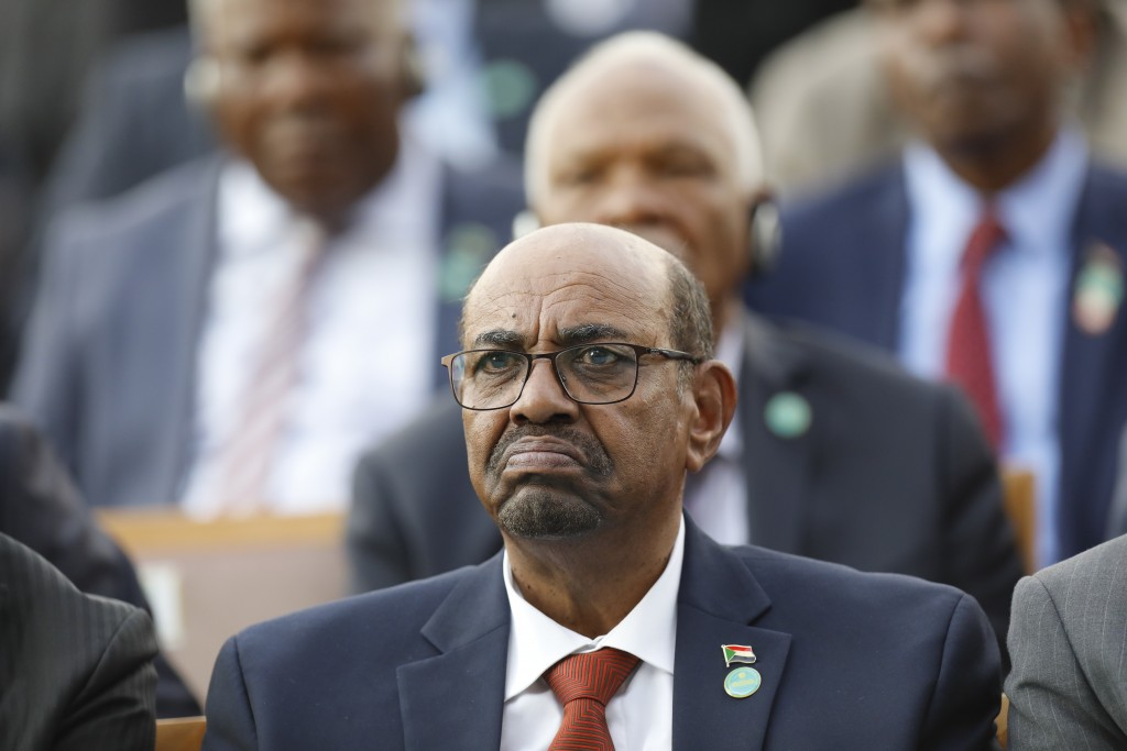 FILE - In this July 9, 2018 file photo, Sudan's President Omar Bashir attends a ceremony for Turkey's President Recep Tayyip Erdogan, at the President