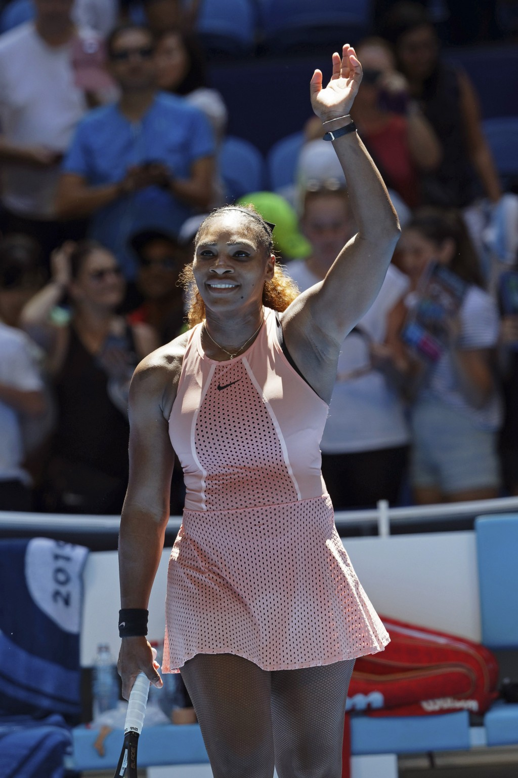 Serena Williams of the United States celebrates after winning her match against Maria Sakkari of Greece at the Hopman Cup in Perth, Australia, Monday,...