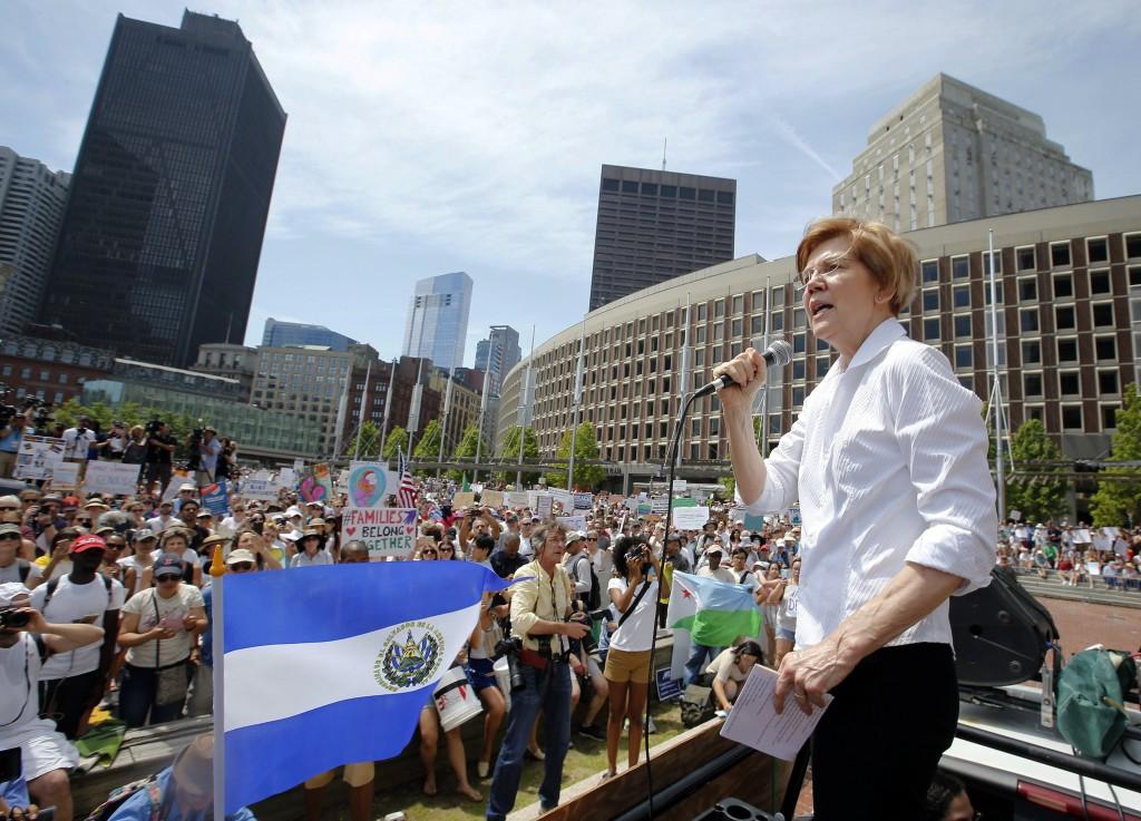 FILE - In this June 30, 2018, file photo, Sen. Elizabeth Warren, D-Mass., speaks during a rally in Boston. Sen. Elizabeth Warren is taking the first m...