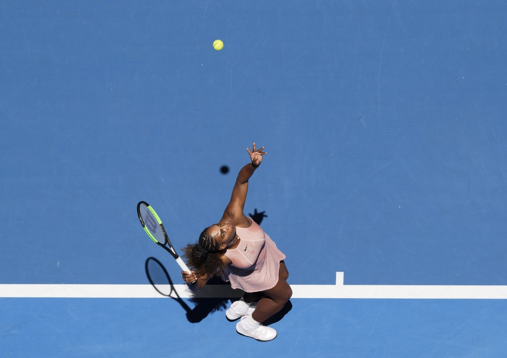 Serena Williams of the United States serves during her match against Maria Sakkari of Greece at the Hopman Cup in Perth, Australia, Monday, Dec. 31, 2...