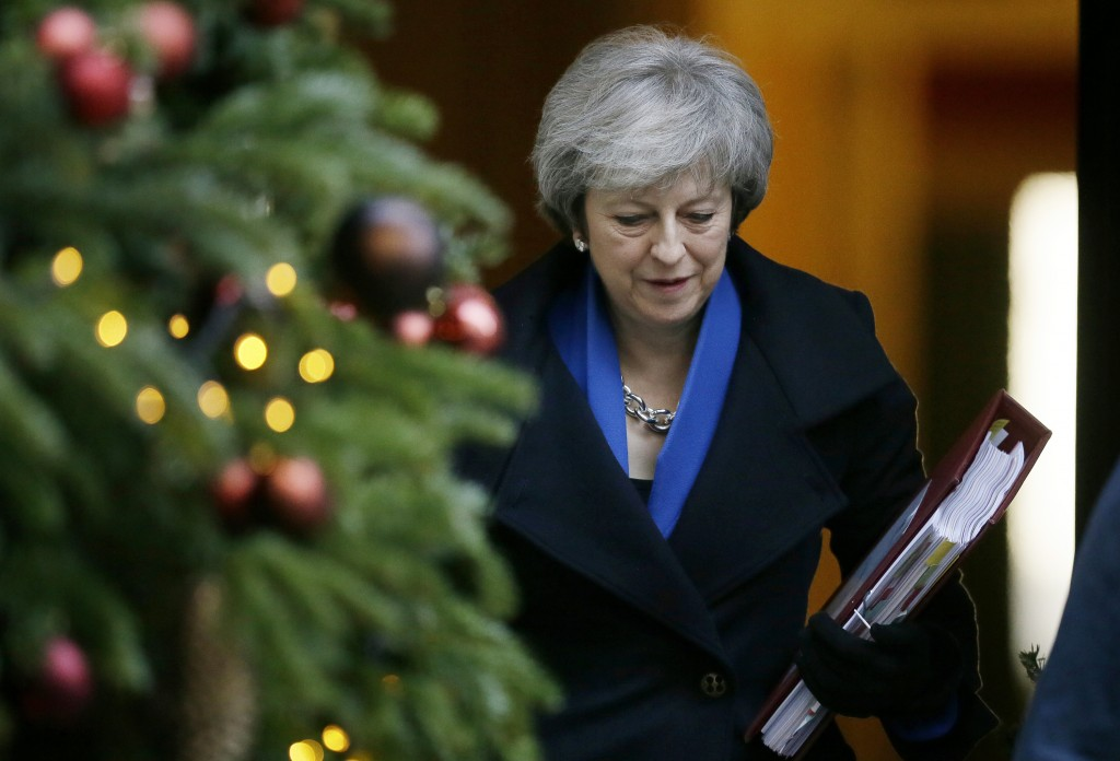 FILE - In this file photo dated Wednesday Dec. 19, 2018, Britain's Prime Minister Theresa May leaves 10 Downing Street in London. In 2019 Europe will ...