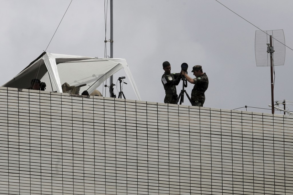 Army snipers set base on top of building, during security preparations for Tuesday's inauguration ceremony of Brazil's President-elect Jair Bolsonaro,