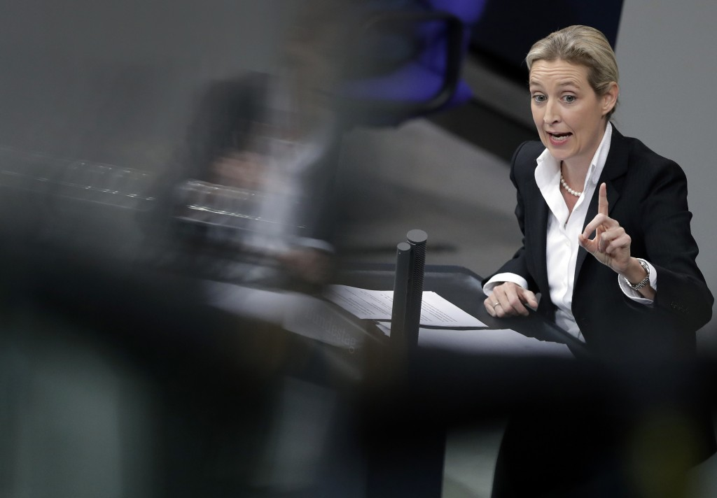 FILE - In this file photo dated Wednesday, Nov. 21, 2018, Alice Weidel, co-faction leader of the Alternative for Germany party, delivers a speech duri...