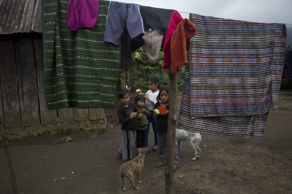 Neighbors of 8-year-old Felipe Gomez Alonzo snack on chayote while standing in their yard in Yalambojoch, Guatemala, Saturday, Dec. 29, 2018. The comm...