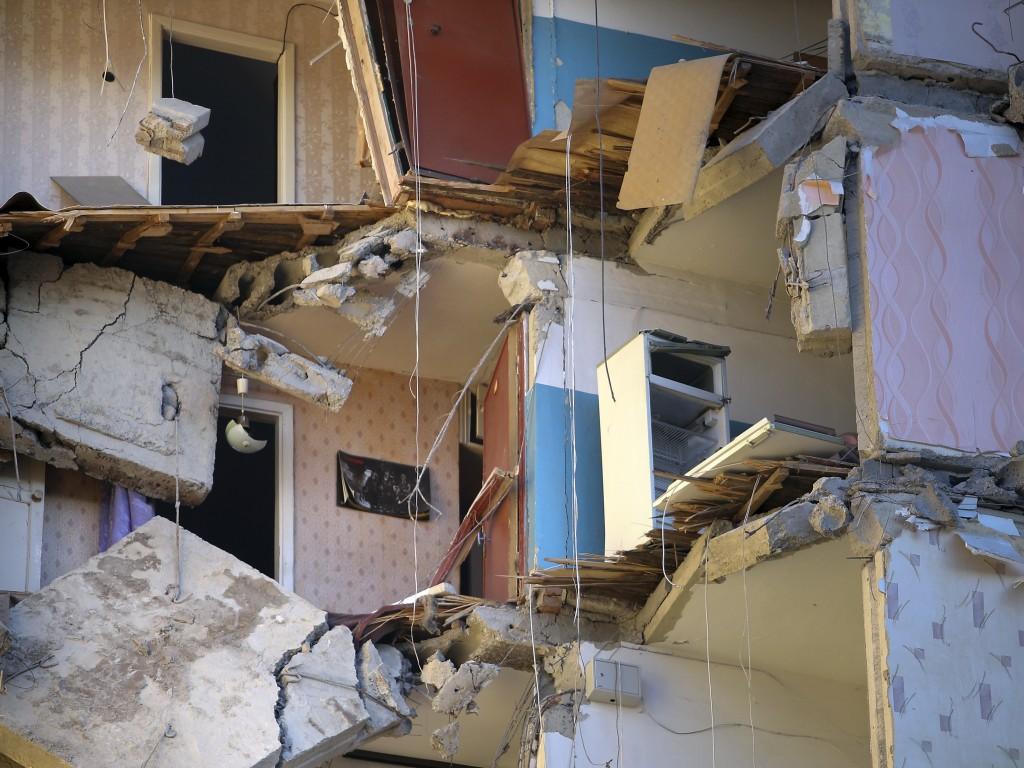 The scene of a part of a collapsed apartment building in Magnitogorsk, a city of 400,000 people, about 1,400 kilometers (870 miles) southeast of Mosco