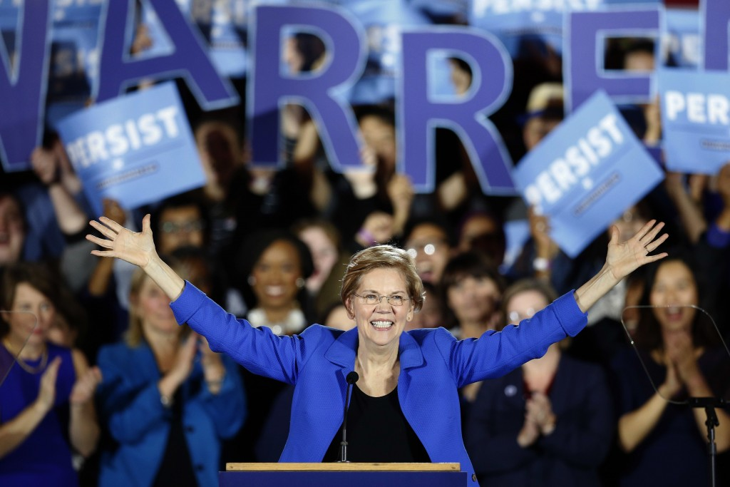 FILE - In this Nov. 6, 2018, file photo, Sen. Elizabeth Warren, D-Mass., gives her victory speech at a Democratic election watch party in Boston. Sen....
