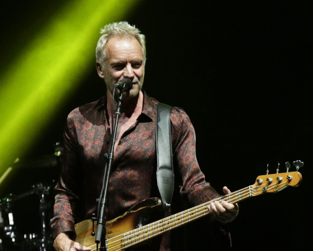 FILE - In this Oct. 19, 2018, file photo, singer Sting performs during a concert with singer Shaggy, not in frame, as part of their 'The 44/876' tour ...