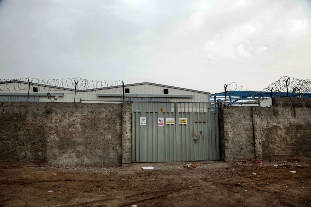 The entrance of the hangar of the United Nations in Aden, Yemen, in this July 23, 2018, photo. An AP investigation found that U.N. agencies and other ...
