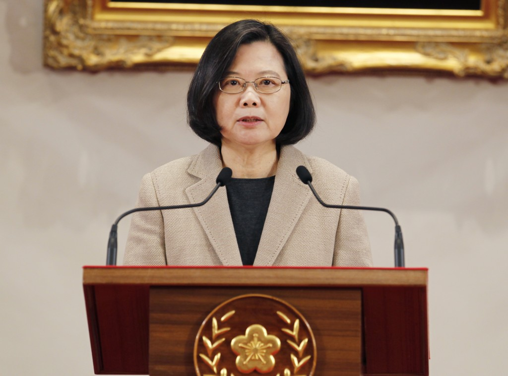 Taiwanese President Tsai Ing-wen delivers a speech during the New Year press conference in Taipei, Taiwan, Tuesday, Jan. 1, 2019.(AP Photo/Chiang Ying