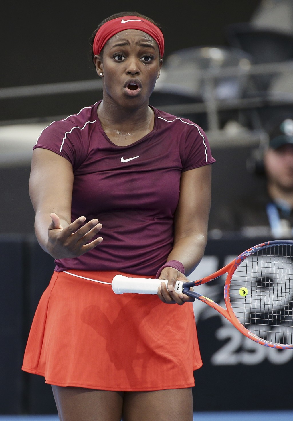 Sloane Stephens of the United States reacts after missing a shot during her match against Johanna Konta of Britain at the Brisbane International tenni...