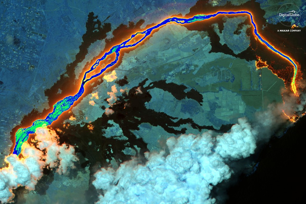 This June 26, 2018 satellite image provided by DigitalGlobe shows lava flows from the Kilauea volcano in Hawaii. (DigitalGlobe, a Maxar company via AP