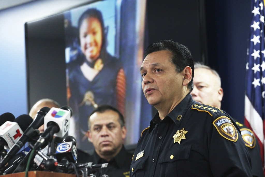 Harris County Sheriff Ed Gonzalez speaks during a news conference, Monday, Dec. 31, 2018, in Houston. Authorities are seeking the public's help in loc...