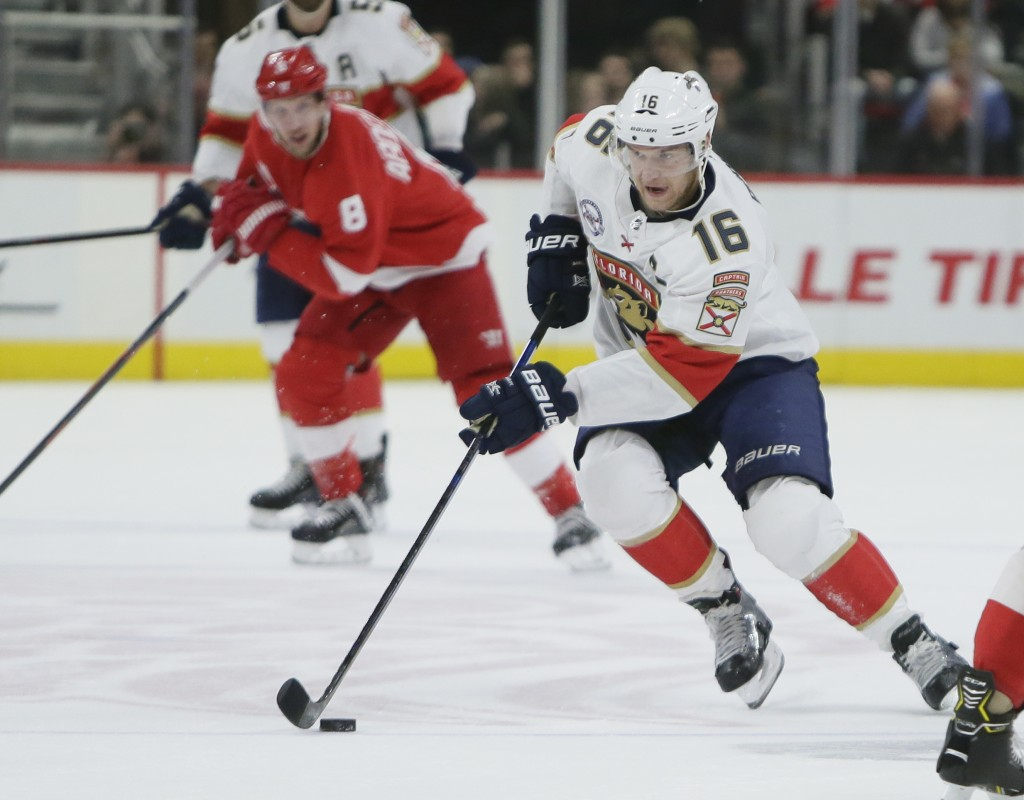Florida Panthers center Aleksander Barkov (16), of Finland, drives down the ice against the Detroit Red Wings during the first period of an NHL hockey
