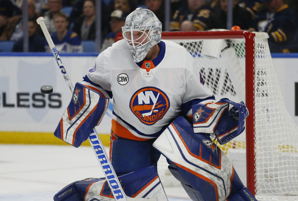 New York Islanders goalie Robin Lehner (40) makes a save during the first period of an NHL hockey game against the Buffalo Sabres, Monday, Dec. 31, 20
