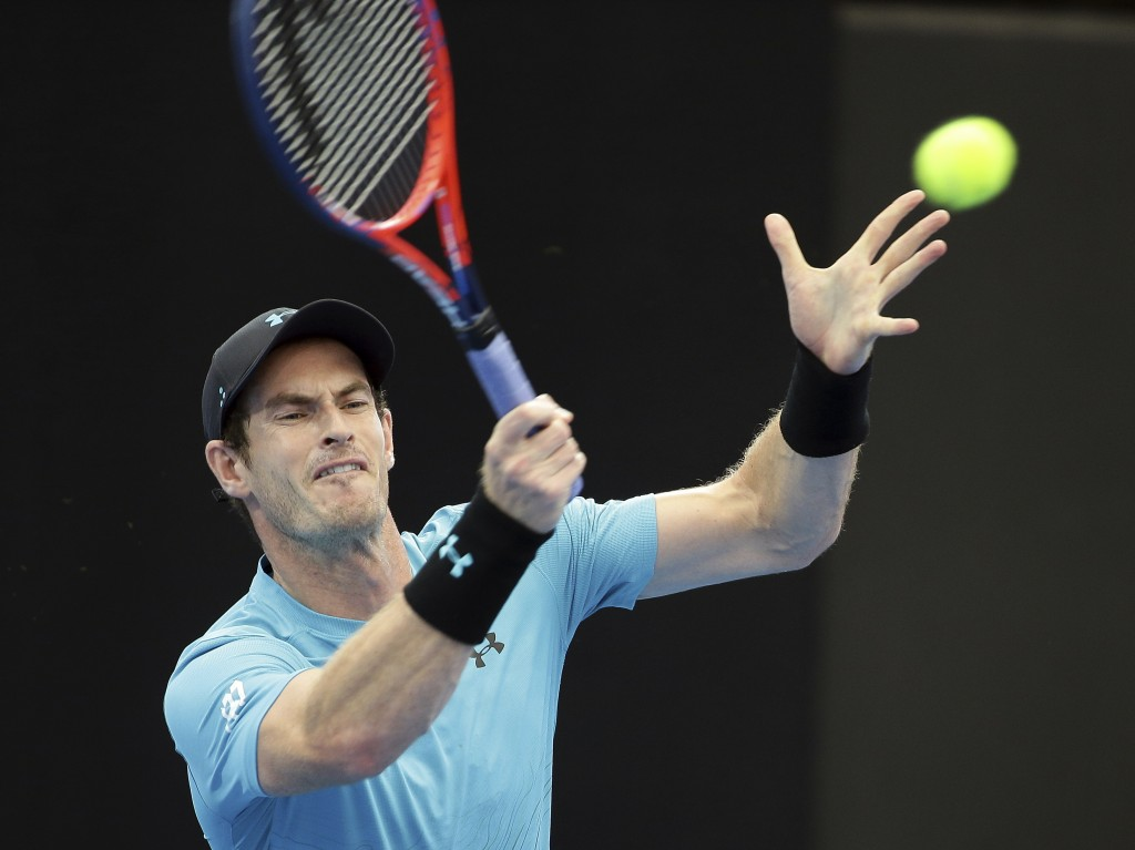 Andy Murray of Britain plays a shot during his match against James Duckworth of Australia at the Brisbane International tennis tournament in Brisbane,...