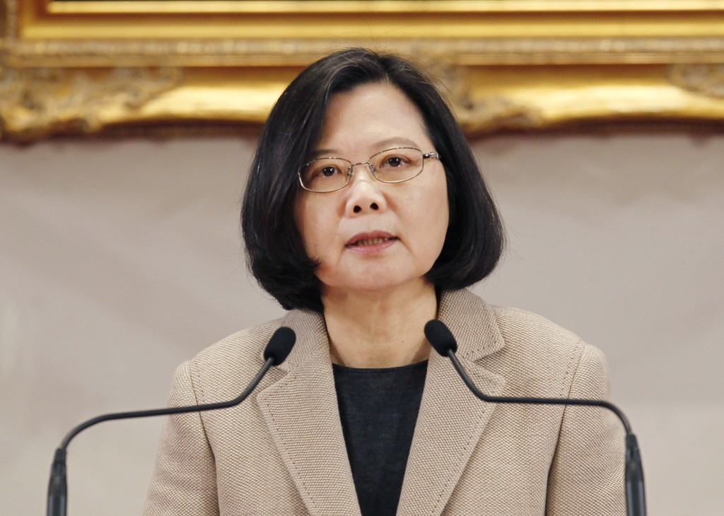 Taiwanese President Tsai Ing-wen delivers a speech during the New Year press conference in Taipei, Taiwan, Tuesday, Jan. 1, 2019.(AP Photo/Chiang Ying...