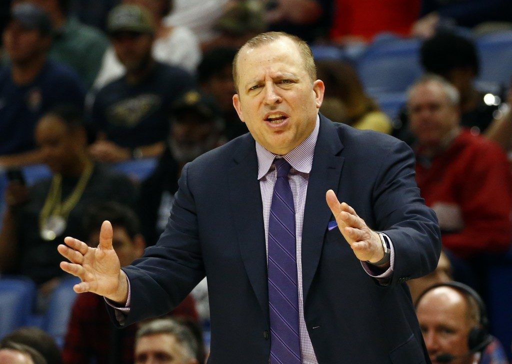 Minnesota Timberwolves head coach Tom Thibodeau reacts to a call during the first half of an NBA basketball game against the New Orleans Pelicans, Mon