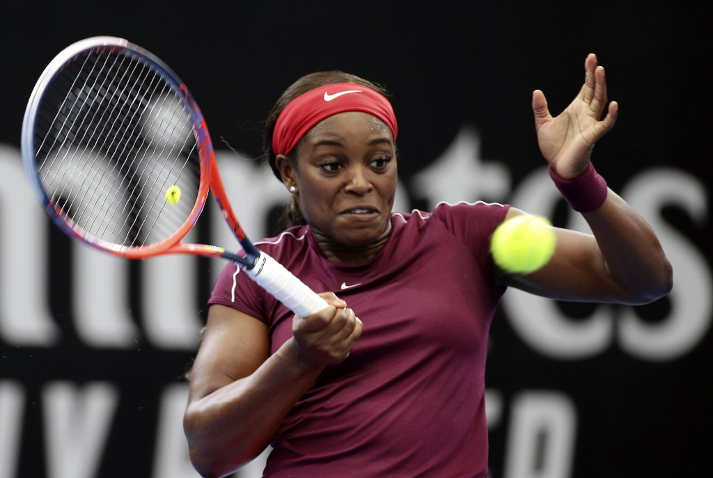 Sloane Stephens of the United States plays a shot during her match against Johanna Konta of Britain at the Brisbane International tennis tournament in...