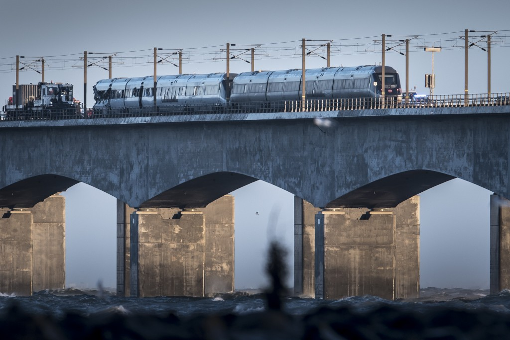 A view of the scene after a train accident on the Great Belt Bridge in Nyborg, Denmark, Wednesday, Jan. 2, 2019.  A Danish passenger train apparently