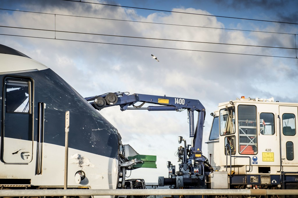 A view of a scene of a train accident on the Great Belt Bridge in Nyborg, Denmark, Wednesday, Jan. 2, 2019.  A Danish passenger train apparently hit f