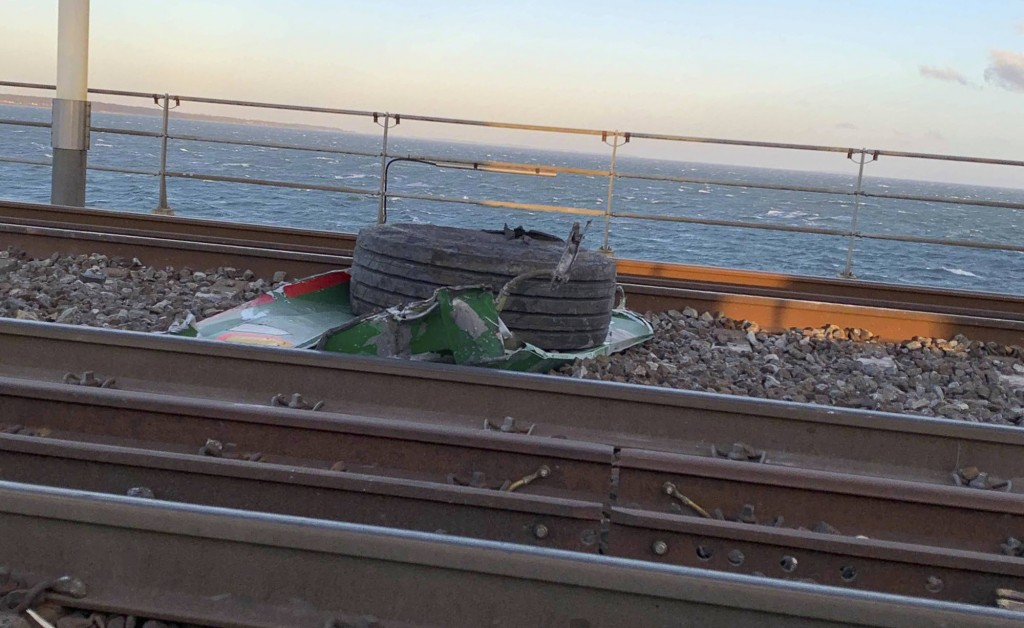 In this UGC photo made available by a source wishing to remain anonymous, a view of debris on the tracks after a train accident on the Great Belt Brid
