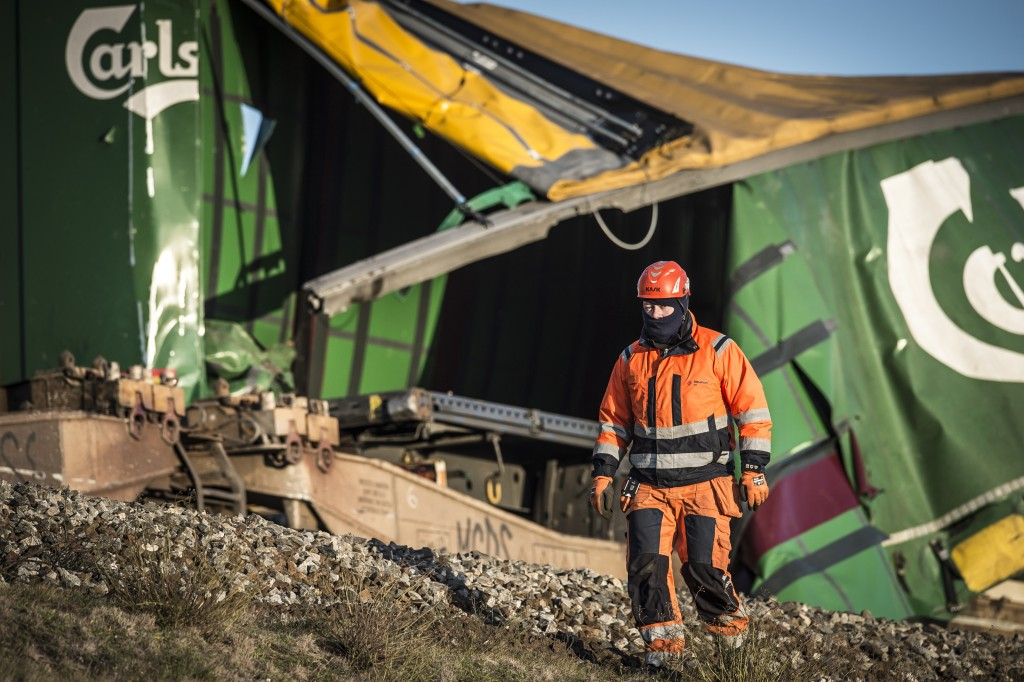 A view of the freight train, after a train accident on the Great Belt Bridge in Nyborg, Denmark, Wednesday, Jan. 2, 2019.  A Danish passenger train ap