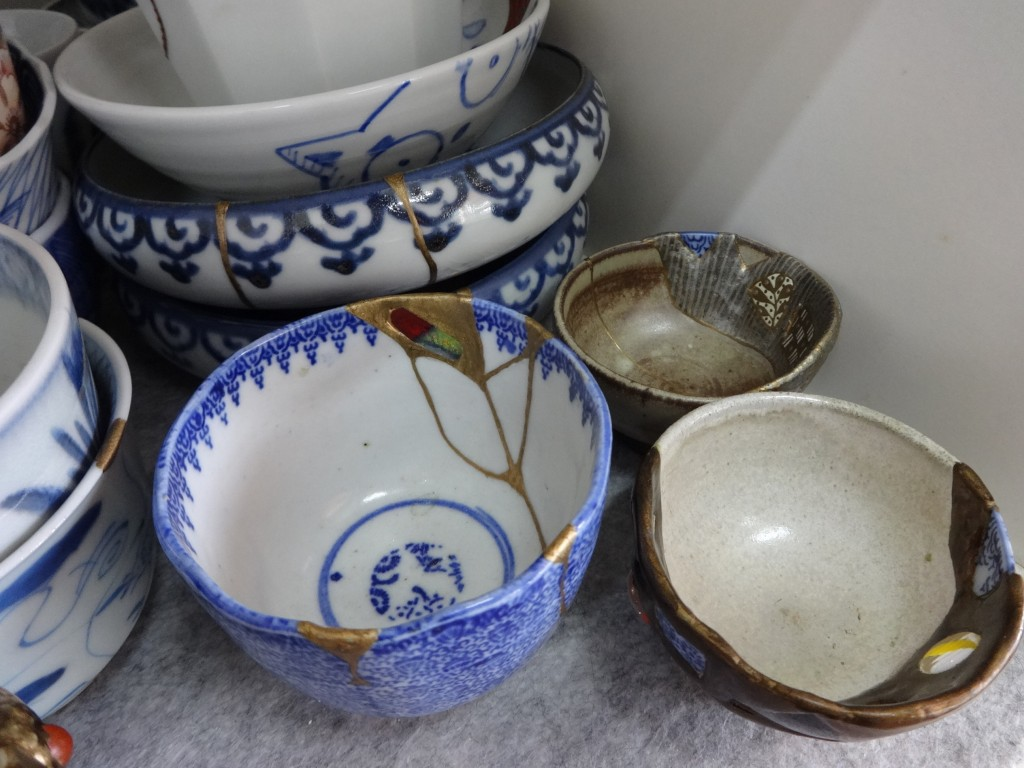 This Nov. 11, 2018 photo shows an example of Kintsugi at the Kuge Crafts workshop in Tokyo. Kintsugi is an ancient Japanese method of repairing broken