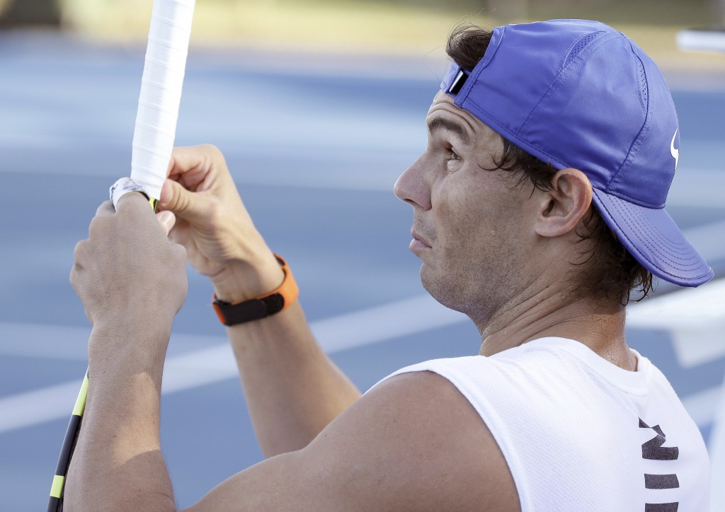 Raphael Nadal of Spain during a training session at the Brisbane International tennis tournament in Brisbane, Australia, Wednesday, Jan. 2, 2019. (AP ...