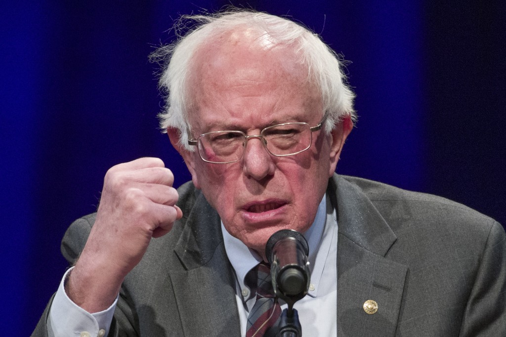 FILE - In this Nov. 27, 2018, file photo, Sen. Bernie Sanders, I-Vt., speaks about his new book, 'Where We Go From Here: Two Years in the Resistance',...