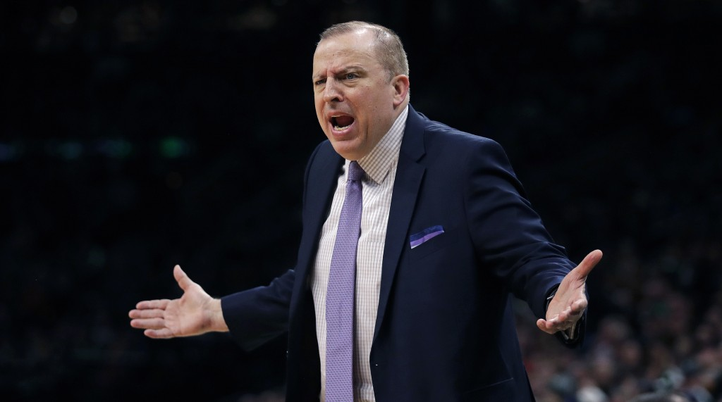 Minnesota Timberwolves coach Tom Thibodeau argues a call during the first quarter of the team's NBA basketball game against the Boston Celtics in Bost