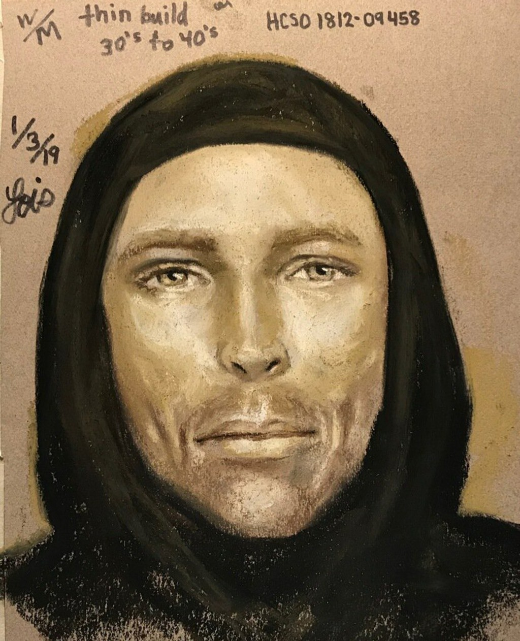 This Thursday, Jan. 3, 2019, sketch provided by the Harris County Sheriff's Office in Houston, Texas, shows an artist's rendition of the suspect in th...