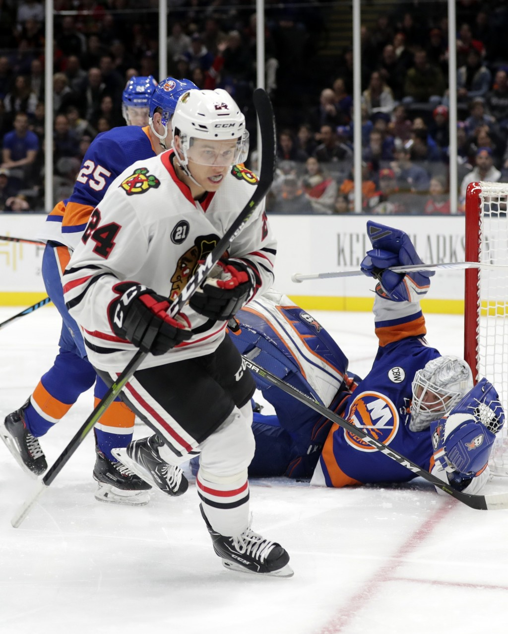 Chicago Blackhawks  Dominik Kahun (24) reacts after scoring a goal on New  York 6bc214ff1