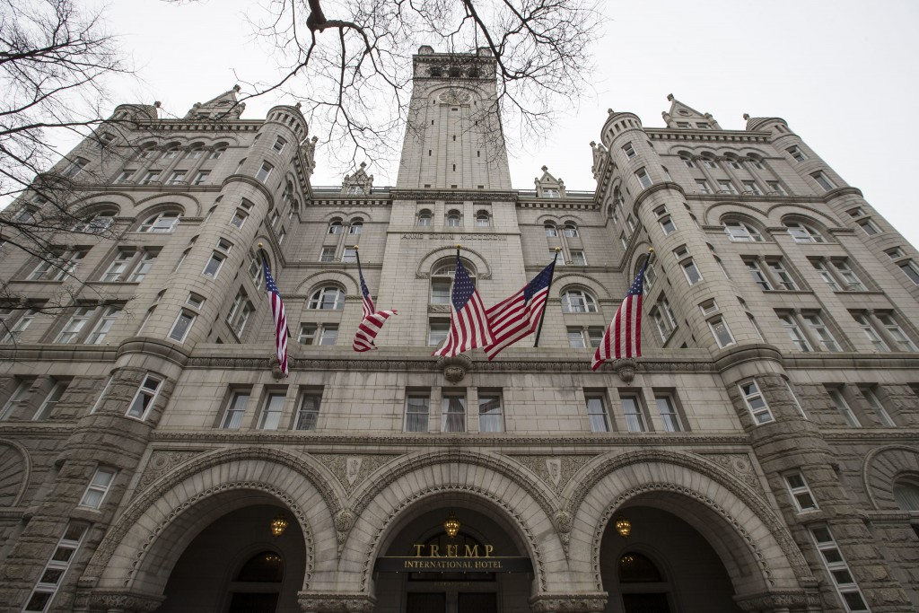 The Old Post Office Pavilion Clock Tower, which remains open during the partial government shutdown, is seen above the Trump International Hotel, Frid...