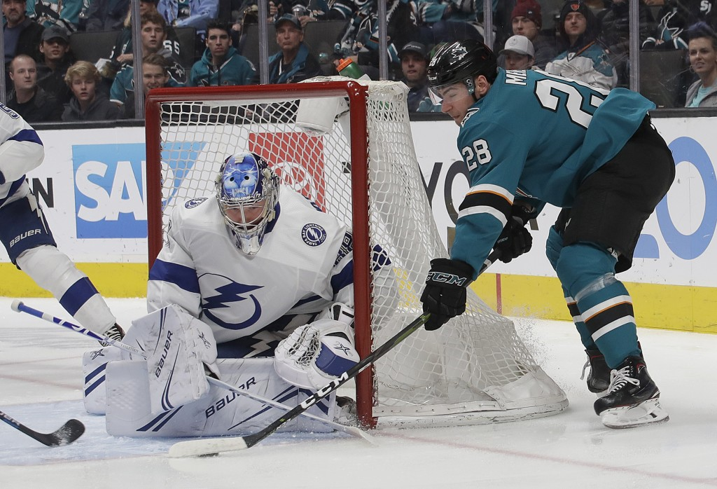 Tampa Bay Lightning goaltender Andrei Vasilevskiy, from Russia, left, defends a shot by San Jose Sharks right wing Timo Meier (28), from Switzerland,