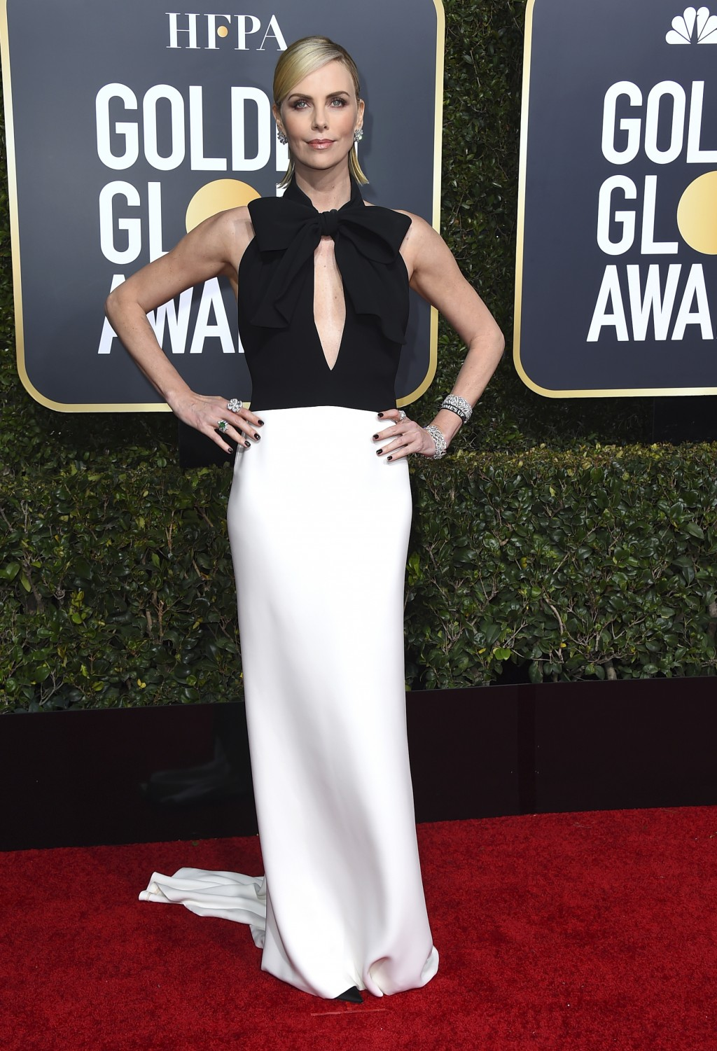 Charlize Theron arrives at the 76th annual Golden Globe Awards at the Beverly Hilton Hotel on Sunday, Jan. 6, 2019, in Beverly Hills, Calif. (Photo by