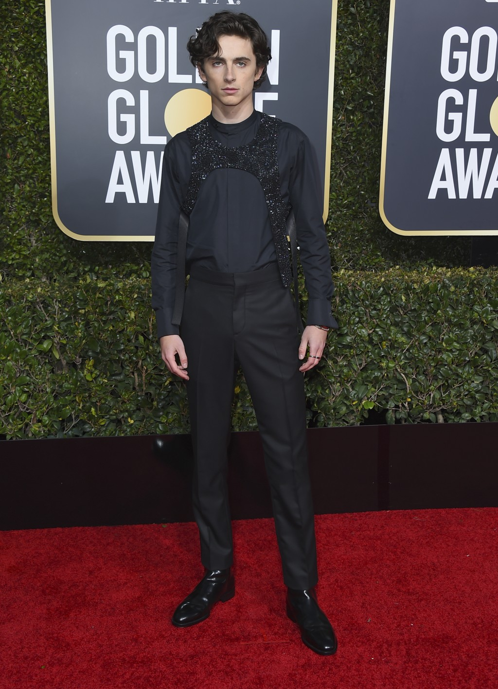 Timothee Chalamet arrives at the 76th annual Golden Globe Awards at the Beverly Hilton Hotel on Sunday, Jan. 6, 2019, in Beverly Hills, Calif. (Photo