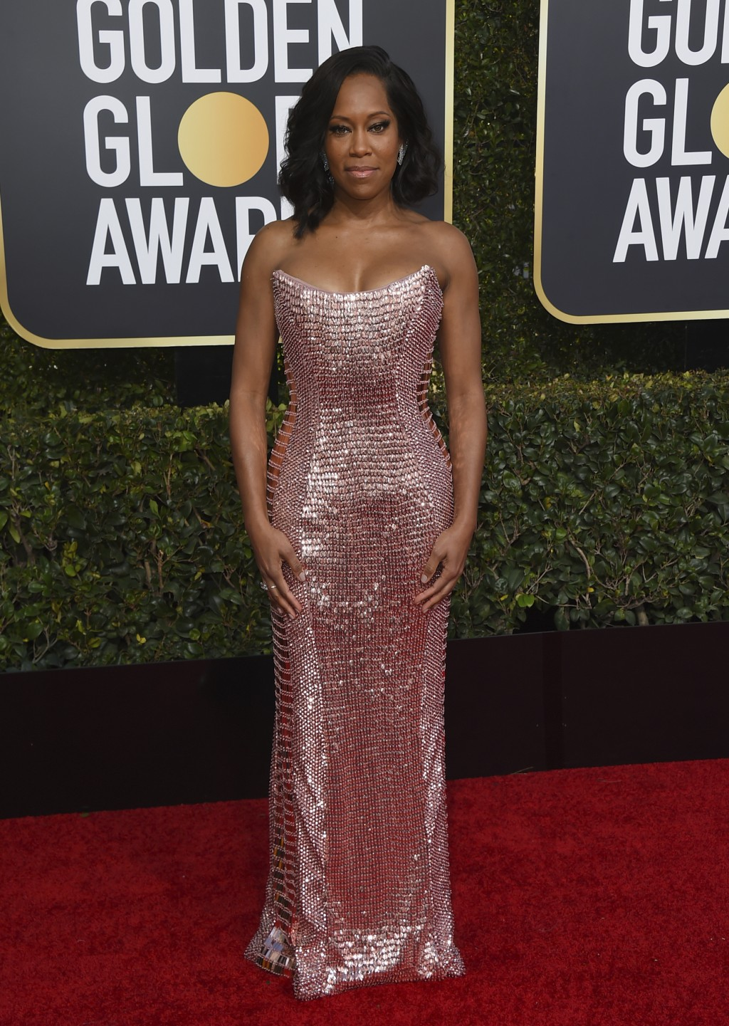 Regina King arrives at the 76th annual Golden Globe Awards at the Beverly Hilton Hotel on Sunday, Jan. 6, 2019, in Beverly Hills, Calif. (Photo by Jor