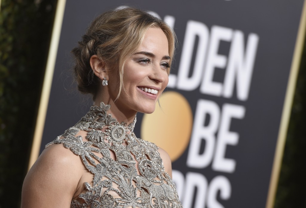 Emily Blunt arrives at the 76th annual Golden Globe Awards at the Beverly Hilton Hotel on Sunday, Jan. 6, 2019, in Beverly Hills, Calif. (Photo by Jor