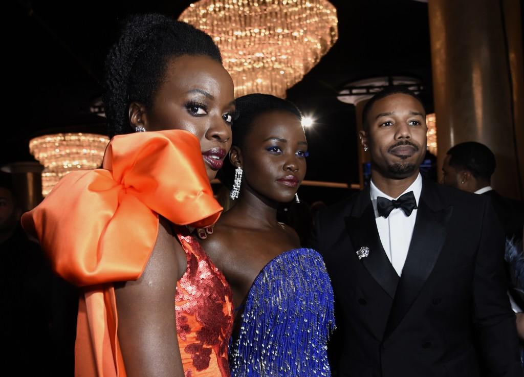 Danai Gurira, from left, Lupita Nyong'o and Michael B. Jordan attend the 76th annual Golden Globe Awards at the Beverly Hilton Hotel on Sunday, Jan. 6