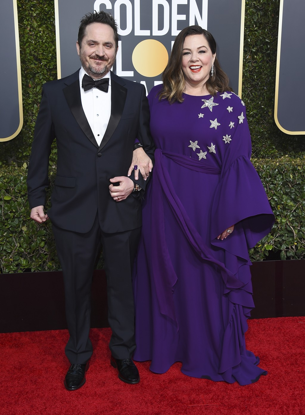 Ben Falcone, left, and Melissa McCarthy arrive at the 76th annual Golden Globe Awards at the Beverly Hilton Hotel on Sunday, Jan. 6, 2019, in Beverly