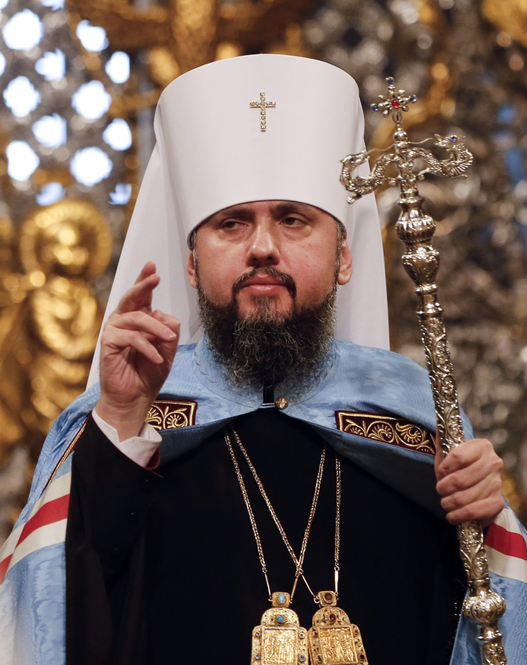 Metropolitan Epiphanius, the head of the independent Ukrainian Orthodox Church, leads the Christmas service in the St. Sophia Cathedral in Kiev, Ukrai...