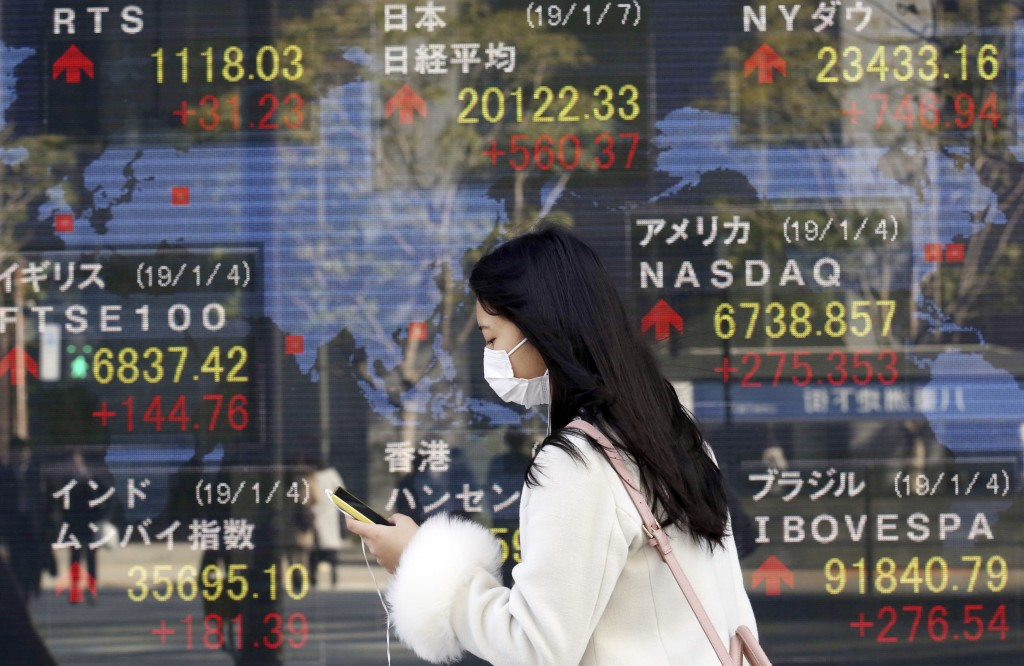 A woman walks by an electronic stock board of a securities firm in Tokyo, Monday, Jan. 7, 2019. Asian markets were broadly higher on Monday after stro...