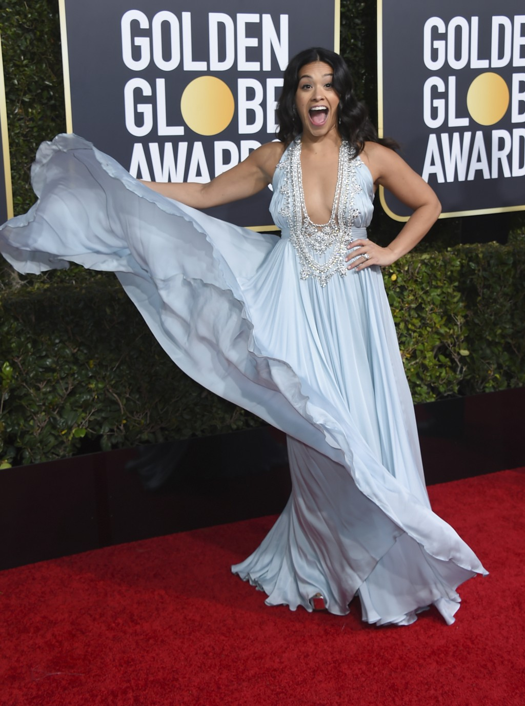 Gina Rodriguez arrives at the 76th annual Golden Globe Awards at the Beverly Hilton Hotel on Sunday, Jan. 6, 2019, in Beverly Hills, Calif. (Photo by