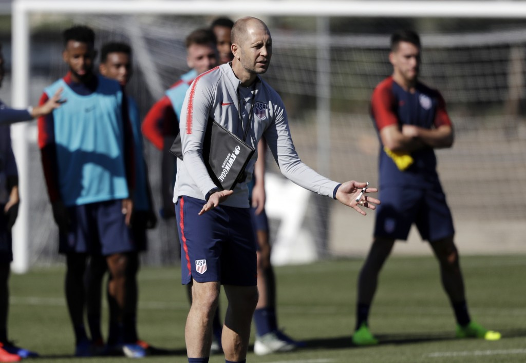 United States head coach Gregg Berhalter instructs players during a soccer training camp Monday, Jan. 7, 2019, in Chula Vista, Calif. (AP Photo/Marcio